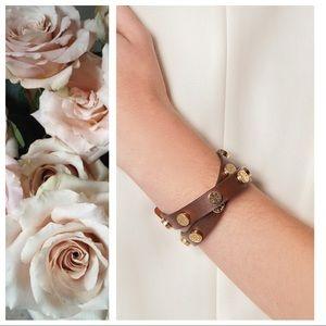 Tory Burch Double Wrap Logo Bracelet Brown & Gold